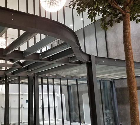 secondary steelwork grey on outside of building