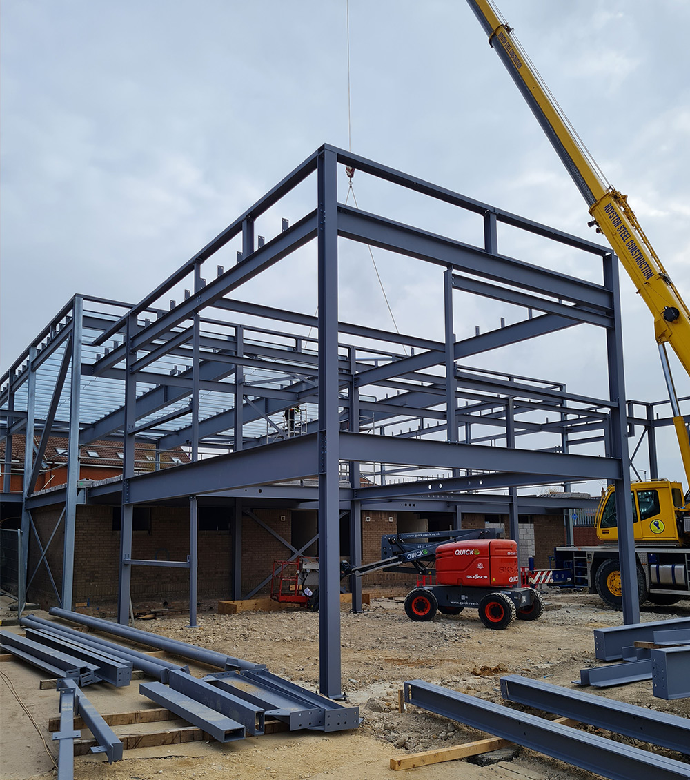 large square two story structural steelwork project june 2021